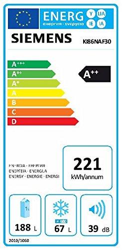 Siemens KI86NAF30 iQ500 Einbau-Kühl-Gefrier-Kombination / A+++ / 177,2 cm Höhe / 221 kWh/Jahr / 188 Liter Kühlteil / 67 Liter Gefrierteil / HydroFresh Box mit Feuchteregulierung / Flachschanier -