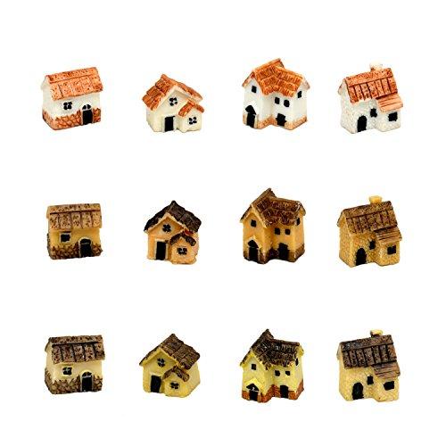 Pixie Schein Fairy Garden Miniatur-Dorf Stein Häuser 12Pack 3/4(W) X1(H) inch Multicolor 12 Pack
