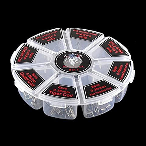 8 IN 1 Kasi vorkompilierte Coil Kit Vorgefertigte Spulen in Riesenradbox, 48 PCS Coil Vorgefertigte Spulen
