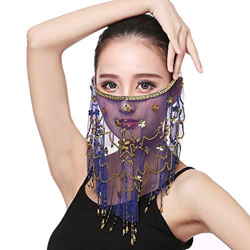 Damen Bauchtanz Zubehör Gesicht Schleier Mit Perlen Quasten Saphirblau Eine Größe
