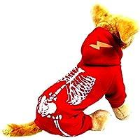 Perro Luminoso Esqueleto Año nuevo Navidad Víspera de Todos los Santos Suéter Capucha Al aire libre camiseta Osito de peluche Capa 5 Tamaños (L, Rojo)