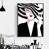 mmwin Blanco y Negro Vogue Girl Hat Labios Arte de la Pared Pintura de la Lona Carteles e Impresiones nórdicos Cuadros de la Pared para la Sala de Estar Decoración de la Pared q 60x100cm