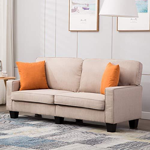 mecor Doppelsofa 2-Sitzer-Sofa Leinensofa Wohnzimmermöbel für Wohnzimmer mit bequem weich Leinenstoff solide Konstruction in beige