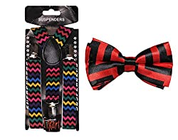 Tiekart Red Suspenders Bow Tie Check Combo For Kids