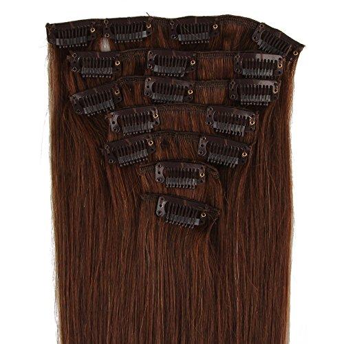 Beauty7 120g Extensions de Cheveux Humains à Clip 100% Remy Hair 4# Couleur Chocolat Marron Longueur 60 cm