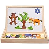 Lernspiele, iTECHOR Baby & Kleinkinder Kinder Frühförderung Lernen & Bildung Lernspielzeug Tafel Tier Holztiermagnetpuzzle Zeichnung 3D Holz Malen Tool