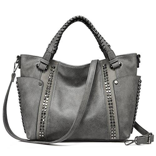 Handtaschen Damen Leder Henkeltasche Taschen Groß Tote Tasche Designer Taschen Grau (Grau Leder Tasche)