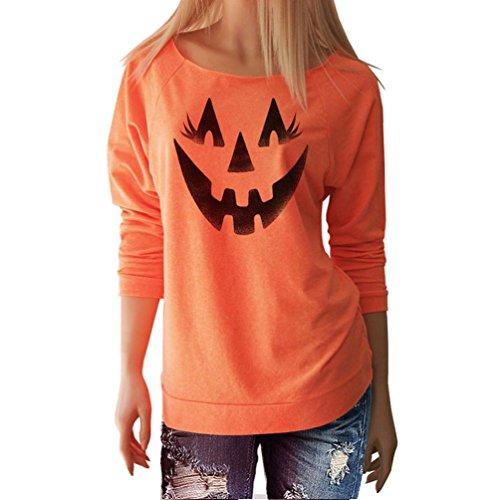 Ninasill Hot. Frauen Halloween Bluse, Exklusive Halloween Frauen Hexe in berühmten Lange Ärmel Tops Bluse Shirt Lässiges T-Shirt Casual X-Large Orange