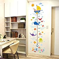Underwater Ocean Fish Cartoon Anchor Height Measure Wall Stickers Growth Chart Kids Baby Nursery Bedroom Decor Decal Poster