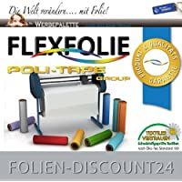 (EUR 14,98 / Quadratmeter) FLEXFOLIE BÜGELFOLIE 1 METER x 500mm PU POLI-FLEX PREMIUM GREY 412