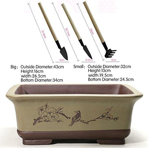 Nclon Grande Argile pourpre Pot de fleur Bonsaï Plantes en pots,Plante verte Jardinage Pot de fleur Avec Outils-E les petites