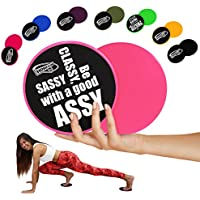 HomeGym 4U Set of 2 Gliding Discs - Excellent Sliders for Carpet or Hardwood Floor - Great Addition To Your Home Gym - Perfect for Core Workout Abdominal Exercise & Cardio Training (Pink with Quote)