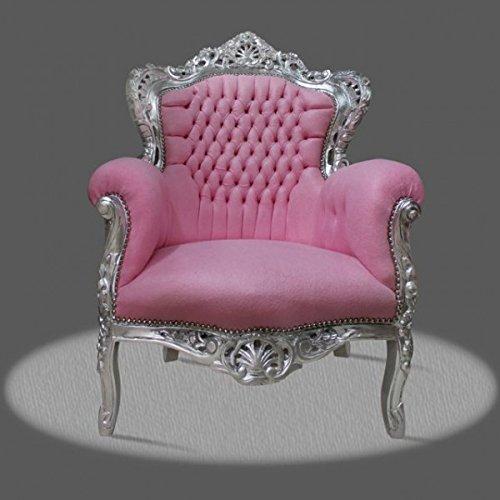 LouisXV Barock Sessel Armlehner Vintage Antik Stil rot Rokoko Blatt silber rosa antik Stil...