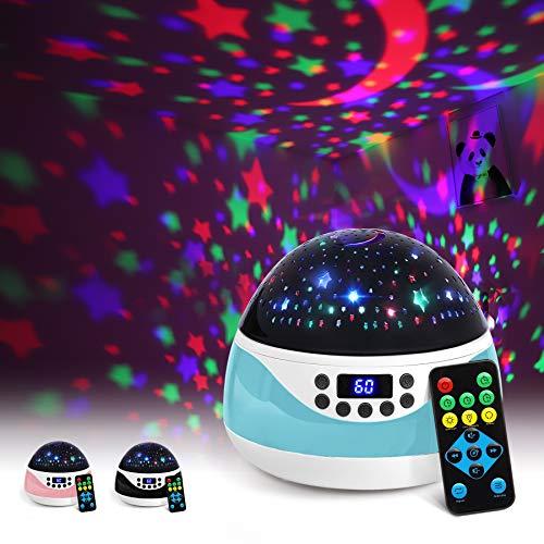 AnanBros Sternenhimmel Projektor mit Musik, Nachtlicht Baby Spieluhr mit Fernbedienung und Sleep-Timer, Rotierendes Lampe Kinderzimmer mit Effekten in 9 Farben, Projektor für Babyzimmer Deko, Cyan