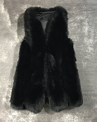 Long Veste Parka Manteau En Fausse Fourrure Sans Manches Blouson Pour Femme Noir