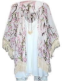 Women 3/4 Sleeve Cardigan Chiffon Floral Printed Long Loose Blouse Shirt Tops