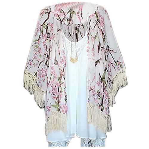 Zeagoo Damen 3/4 Ärmel Wolljacke Chiffon Blumen bedruckte lose Bluse Long Shirt Tops Chiffon Kimono Cardigan mit fransen (Seide 3/4-Ärmel-bluse Aus)