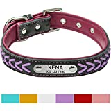 Vcalabashor Hundehalsband mit Namen und Telefonnummer,Hundehalsband Anh?nger mit Gravur,Hundehalsband Leder,XL 46-56cm,Lila