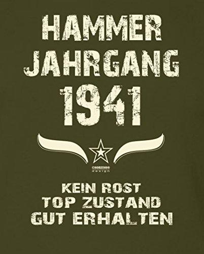 Geschenk Set : Geschenkidee 76. Geburtstag ::: Hammer Jahrgang 1941 ::: Herren T-Shirt & Urkunde Geburtstagskind des Jahres für Ihren Papa Vater Opa Großvater ::: Farbe: schwarz Khaki