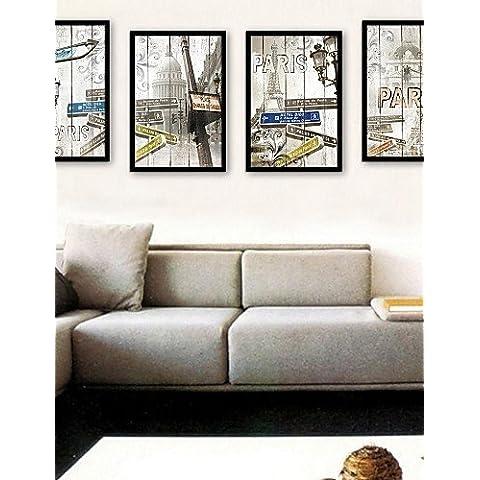 e-HOME enmarcado arte de la lona, ??calle lámpara enmarcado lona de ajuste de impresión de 4