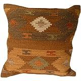 Comercio justo fundas de cojín de Kilim hecho a mano en telares con 80/20lana/algodón y tintes naturales Varanassi, tela, marrón, 43 x 43