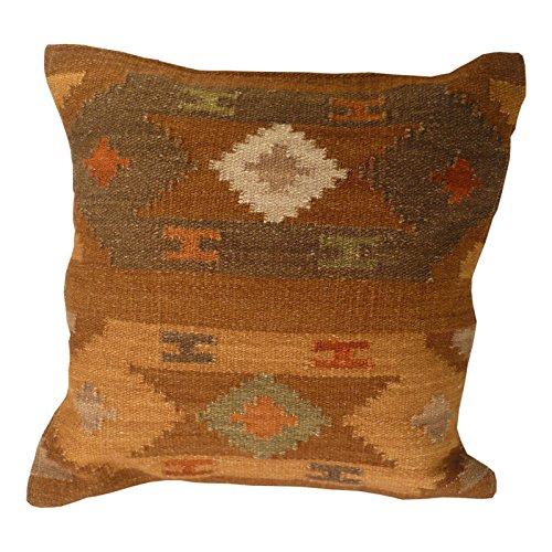 Fair Trade Kelim Kissen handgefertigt auf gewebt mit 80/20Wolle/Baumwolle und natürliche Farbstoffe varanassi, Textil, braun, 43 x 43