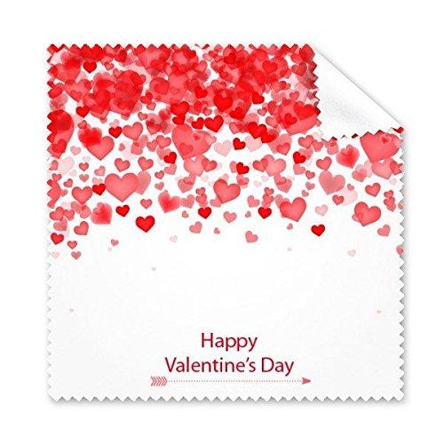 Happy Valentine 's Day rot weiß Herzen Pfeil Illustration Muster Brille Reinigungstuch Reinigungstuch Handy-Display von 5x