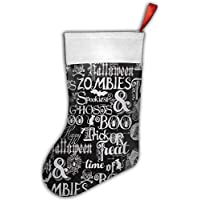 Gorgeous ornaments Fright Night Metallic Halloween Words Christmas Hanging Stocking,Assorted Santa Gift Socks Hanging Accessories For Xmas Tree Decoration Only Printed One Side