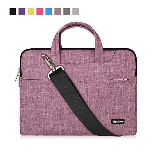 Qishare Laptop Case, Laptop Shoulder Bag, Multi-functional Notebook Sleeve, Carrying Case With Strap for Chromebook Macbook HP Stream Samsung Acer Asus Dell Lenovo (15.6-16'', Purple lines)