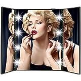 RYC Espejo 8 LED de Mesa para Maquillaje Plegable Portátil Adjustable Cosmético (Negro)