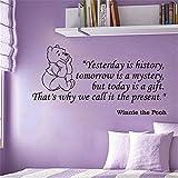 Winnie the Pooh Wandtattoo Winnie the Pooh Kinderzimmer Dekor gestern ist Geschichte morgen ist ein Rätsel, aber heute ist ein Geschenk