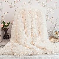 Cuddly Blanket microfibra Artificial cubierta de piel para sofá cama ligeramente mullida (Blanco, 160*200cm)