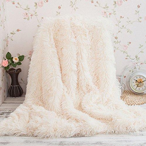 Kuscheldecke PV longhair Blanket Microfaser Kunstfell TV Decke Tages Klimaanlage Decke für Couch Bett Leicht Flauschig (130*160cm, Weiß)