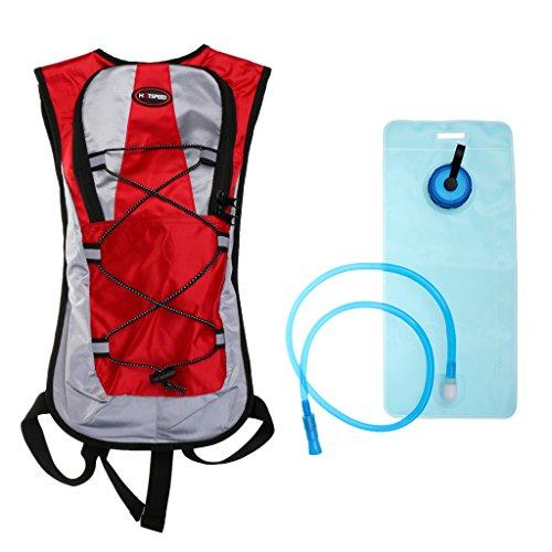 Gazechimp Outdoor Sport Trinkrucksack mit 2L Trinkblase, Sport Rucksack für Radfahren, Wandern, Laufen, Rennen Rot