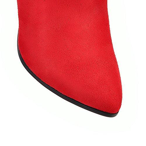 VogueZone009 Femme Haut Bas Mosaïque Zip à Talon Haut Bottes avec Houppe Rouge