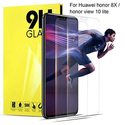 Huawei Honor 8X Panzerglas Schutzfolie Kompatibel mit Handyhülle 2 Stück Transparent Folie Schutzglas HD klar Schutzglas Glasfolie Echt Bildschirm 3D Glas Bildschirmschutzfolie 9H Härtegrad für Honor 8X