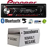 Autoradio Radio Pioneer DEH-S310BT - Bluetooth   CD   MP3   USB   Android Einbauzubehör - Einbauset für Renault Megane & Scenic 2 - JUST SOUND best choice for caraudio