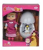 Simba 109301003 - Mascha und der Bär Pinguin im Ei, Puppe, 12 cm