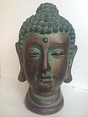 Evre Buddha Head Statue for Living Room/Garden - Durable Polyresin - Bronze 20cm