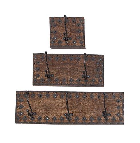 Deco 79 14440 Wandhaken, Holz, Metall, 45,7 cm, 30,5 cm, 15,2 cm, 3 Stück -