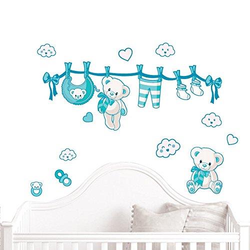 JUJU & COMPAGNIE - Kit completo Orsetto nascita composto da adesivi murali con orsetti, dimensioni: 50 x 90 cm, colore: Turchese.