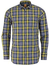 BOSS ORANGE Slim Fit Hemd CATTITUDE Langarm Karo gelb/blau/schwarz