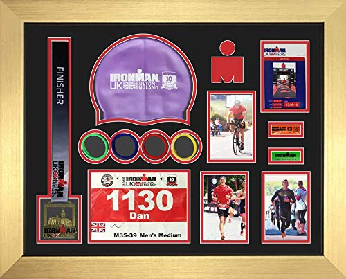 Kwik Picture Framing Ltd Ironman Bolton 2018 Triathlon Marathon, Running Medal Swimming caps Display Frame Black Mount - Gold Frame