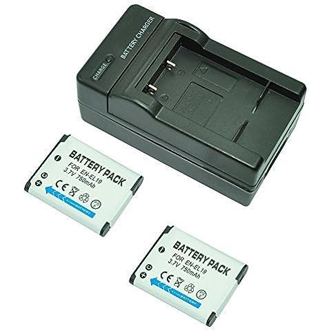 mondpalast@ 2X Reemplazo batería EN-EL19 750mAh + cargador para NIKON COOLPIX S33, S100, S2500, S2550, S2600, S3100, S3200, S3300, S4100, S4150, S4300,