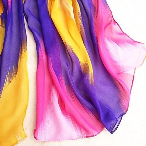 Bufandas para Mujer,Xinan Estilo Tinta China Chal de Gasa Bufandas Grande Moda (Púrpura)