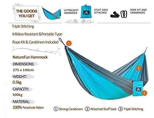 NatureFun Ultra-Leichte Tragbare 100% Fallschirm-Nylon Reise Camping Hängematte mit 300kg Kapazität - 2