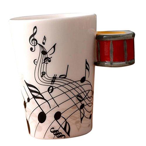 MagiDeal Kreativ Keramik Tassen Teetassen Kaffeetassen Instrument Tasse Becher,Geschenk für Geburtstag Hochzeit - Rote Trommel (Keramik-trommel)
