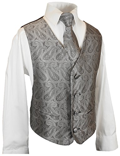 Festliches Jungenwesten Set 3tlg silber grau paisley + Hemd + Krawatte 14