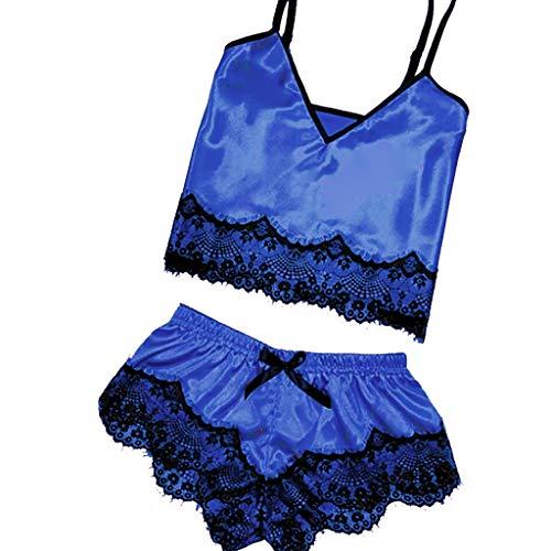 LILICAT_Kleid Damen Sexy Dessous Satin Sling Nachtwäsche Schlafanzug Gesetzt Spitze Komfort Baby Dolls Negligees Dessous Bademantel Bowknot Nachthemd Unterwäsche -