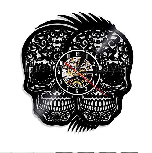 MFHYSJ 1 Stück Tag Der Toten Vinyl Rekord Wanduhr RecycMexikanische Schädel Tattoos Vintage Wanduhr Halloween ()